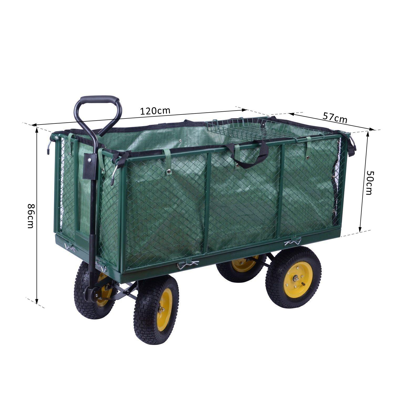 VidaXL - Remolque de jardín para transporte de materiales: Amazon.es: Bricolaje y herramientas