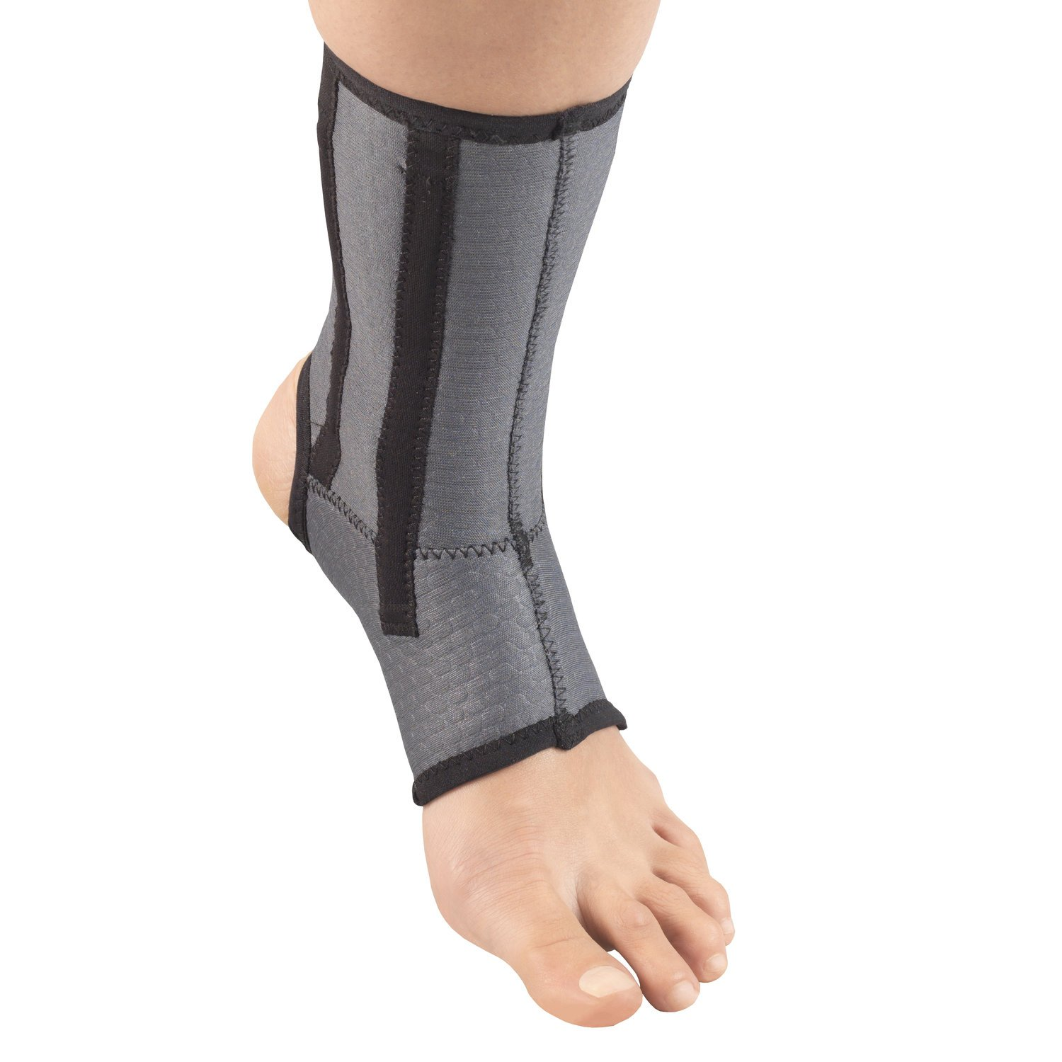 Champion Ankle Brace, Open Heel, Flexible Support Stays, Airmesh Fabric, Grey, Large