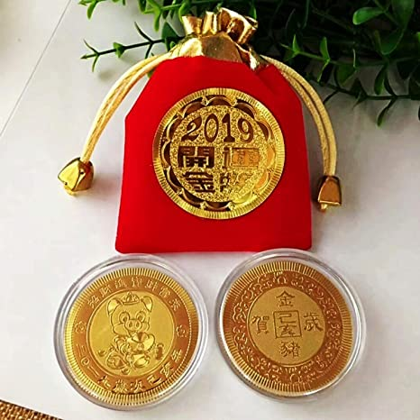 Auspicious Chinese Symbols Lunar Zodiac 24K Gold Plated Coin Year of the Rat