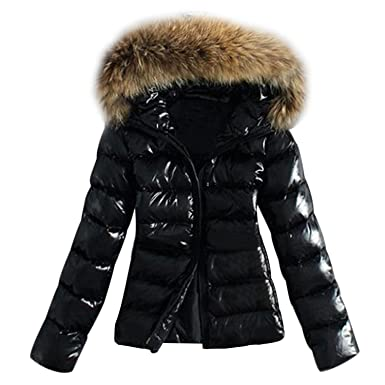 68db7641f Fanala Women Puffer Coat with Faux Fur Hood Thickened Down Jacket Black XL