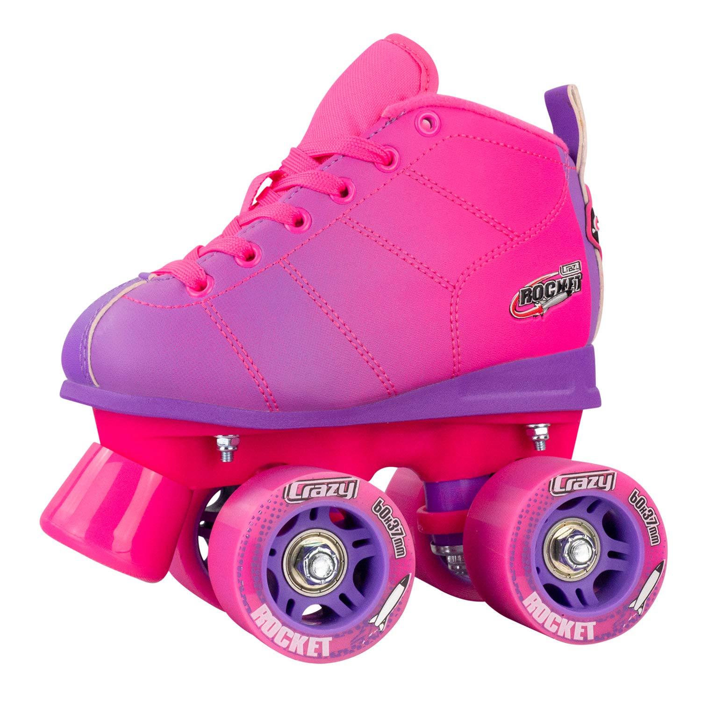 Crazy Skates Rocket Roller Skates for Girls and Boys | Great Beginner Kids Skates with Adjustable Motion | Pink and Purple Patines (Size Jr10)