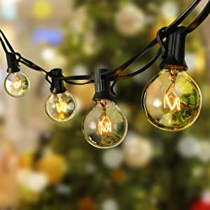 Aialun Outdoor String Lights-30FT Globe Patio Lights with 30 Edison Vintage Glass Bulbs and Commercial Great Weatherproof Strand-UL Listed, Heavy-Duty Umbrella Hanging Café Patio Light,Porch Light