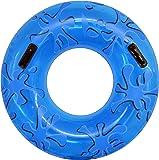 FIELDOOR 便利な持ち手付き ジャンボ 浮き輪 大きい うきわ 直径105cm ブルー (スプラッシュ) 大人用直径105cm
