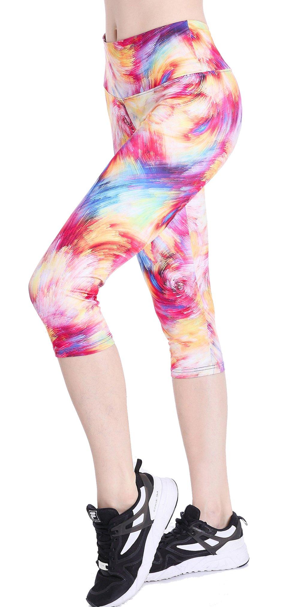 Picotee Women's High Waist Tummy Control Yoga Pants Workout Capri Leggings w Hidden Pocket (Tornado Orange, M)