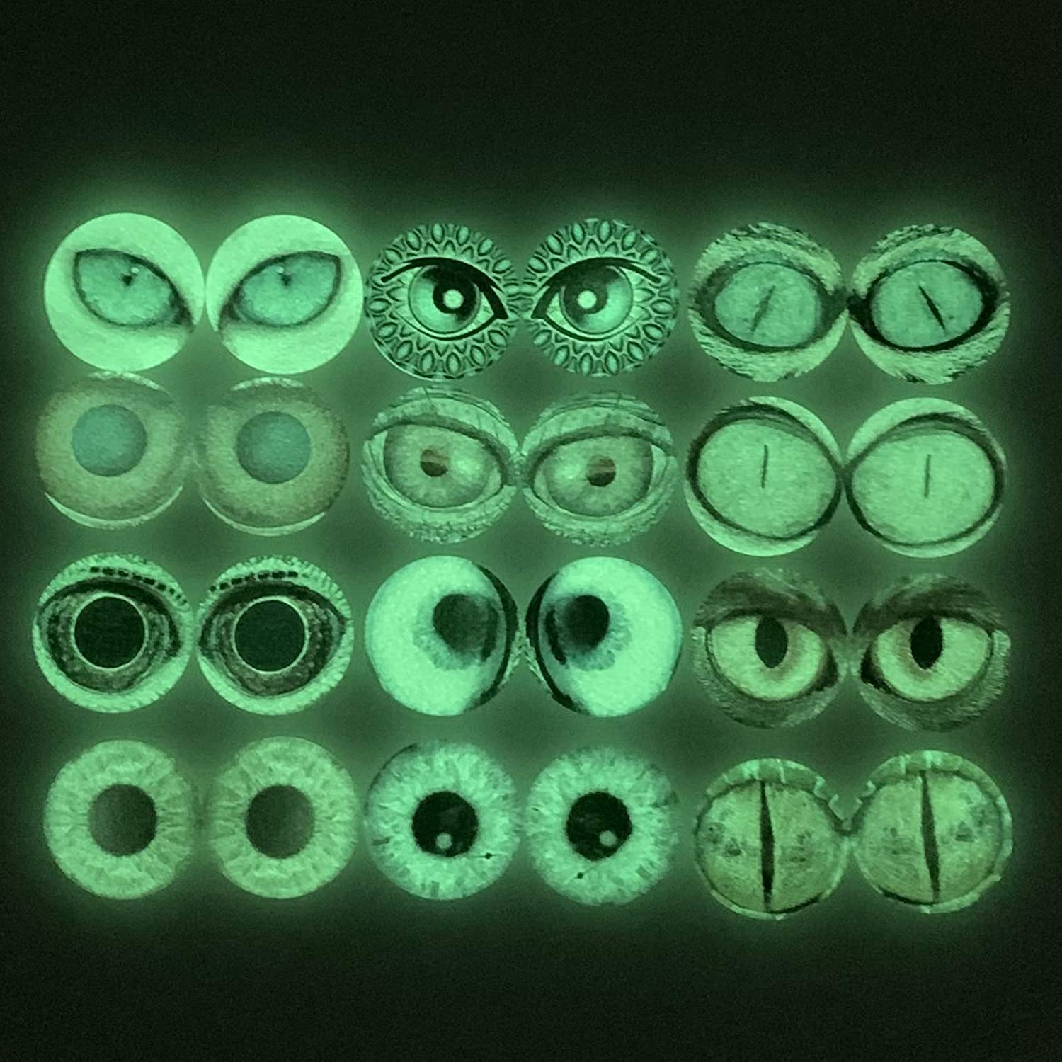 Qeesio 10 Pairs 10mm Glow in the Dark Glass Animal Eyes Round Dome Glass Cabochons Flatback for DIY Craft Clay Eyes 10mm