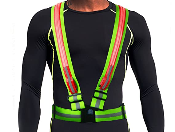 LED Reflective Safety Vest by Glowseen-USB Rechargeable-High Visibility with Reflective Stripes for Outdoor Activities Vest-White