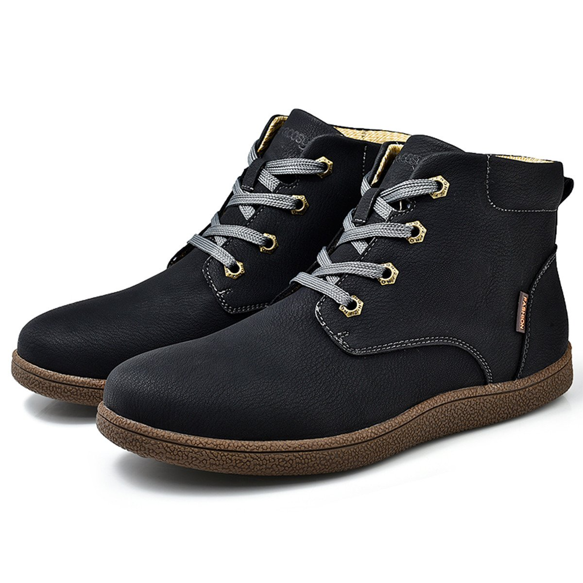 Gracosy Martin boots for Men, Men's Fashion Leather Lace up Boots Winter Cotton Lining Shoes Waterproof Boots Black Tag 43 by Gracosy (Image #2)