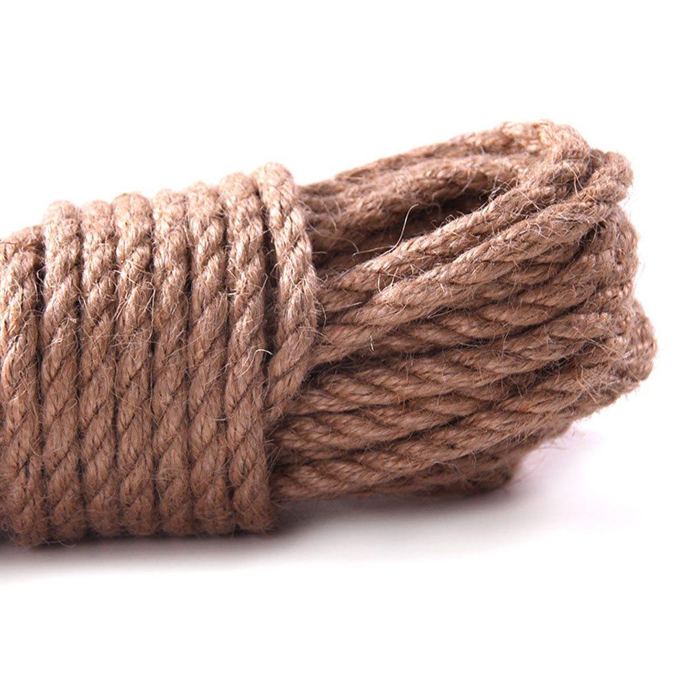 Hanfseil, starke 6 mm mit Jute-Seil, natürliches Hanf Seil Band Jute Twine Kunst Handwerk DIY Dekoration Geschenkverpackung, Garten, Haustiere, Hanf, Mehrzweck-Twine Rope 10 (32 FT) PACK 1