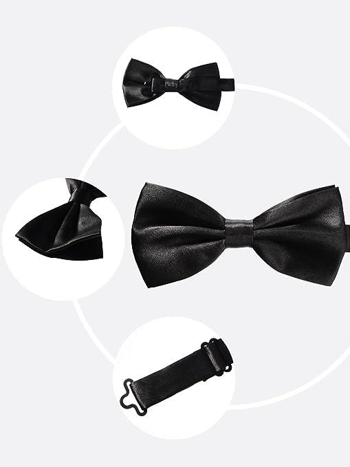 Adjustable Solid Plain Bowties Classic Boy Necktie for Formal Tuxedo Wedding Party kiniza Men/'s Pre-Tied Bow Tie Black