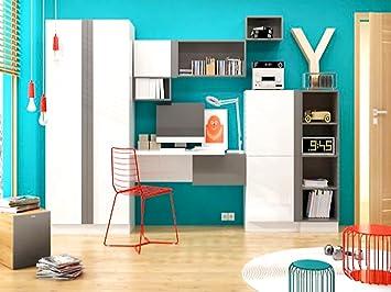 Jugendzimmer komplett weiß hochglanz  Modernes Jugendzimmer Komplett Set Yeti 03 (8 tlg.) Weiß/Weiß ...