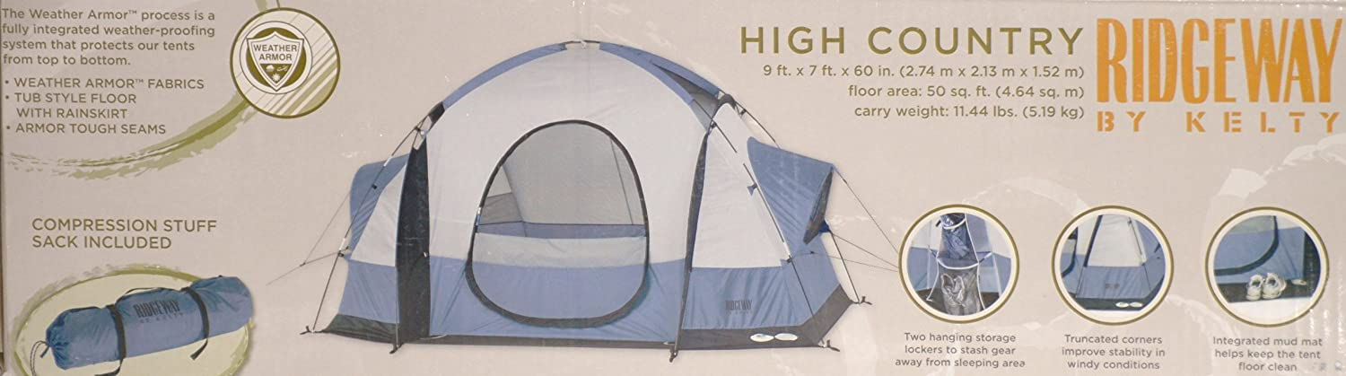 Amazon.com  Ridgeway By Kelty High Country 3-Person Backpacking Sport Tent  Family Tents  Sports u0026 Outdoors & Amazon.com : Ridgeway By Kelty High Country 3-Person Backpacking ...