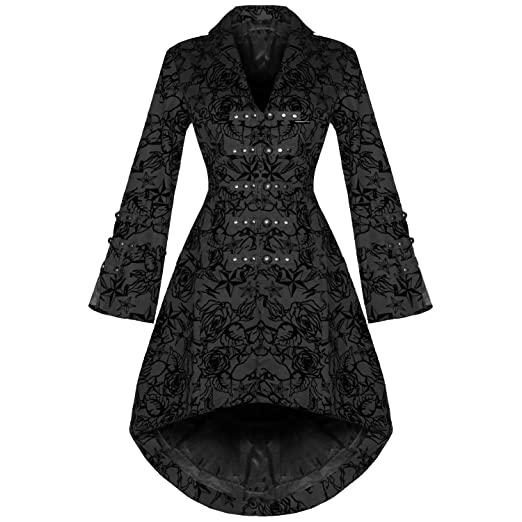 Steampunk Jacket, Coat, Overcoat, Cape Steampunk Military Rockabilly Flocked tattoo coat £59.99 AT vintagedancer.com