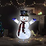 24IN Christmas Snowman Collapsible Foldable Decoration with Build-in LED Lights for Indoor, Outdoor, Yard, Garden Lawn