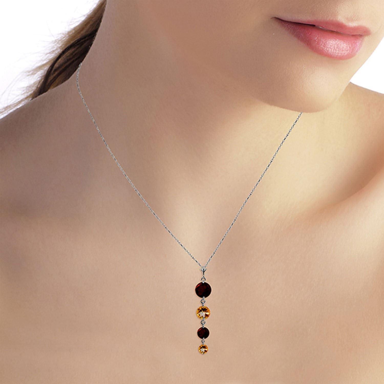 ALARRI 3.9 Carat 14K Solid White Gold Necklace Natural Garnet Citrine