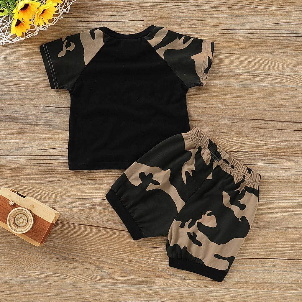 Kleinkind Baby Junge M/ädchen Sommer Casual Bekleidungsset Leinen Outfits Kurzarm T-Shirts Top Loose Hosen mit Kordelzug Unisex Babykleidung 2St/ücke Einfarbig
