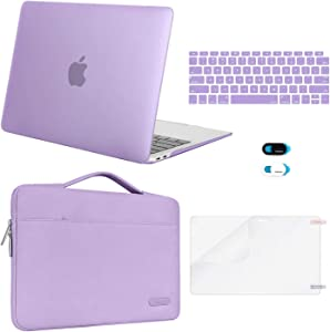 MOSISO MacBook Air 13 inch Case 2020 2019 2018 Release A2337 M1 A2179 A1932,Plastic Hard Case&Bag&Keyboard Skin&Webcam Cover&Screen Protector Compatible with MacBook Air 13 inch Retina, Light Purple