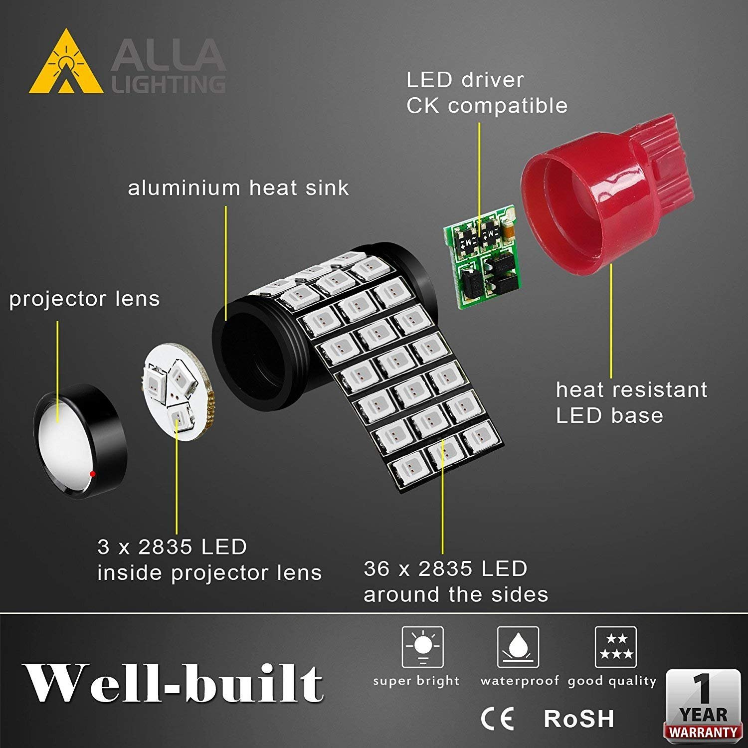 Alla Lighting 7440 7443 Led Strobe Brake Lights Bulbs Solid State 555 Ic Stroboscope Super Bright T20 Flashing Pure Red High Power