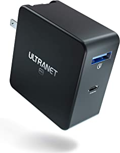 USB C Charger, ULTRANET 65W Fast Charging USB Charger with 2-Ports, PD Charger with GaN Fast Charge & Dynamic Detect for MacBook Pro/Air, Dell XPS 13, iPad Pro, iPhone, Switch, Galaxy and More