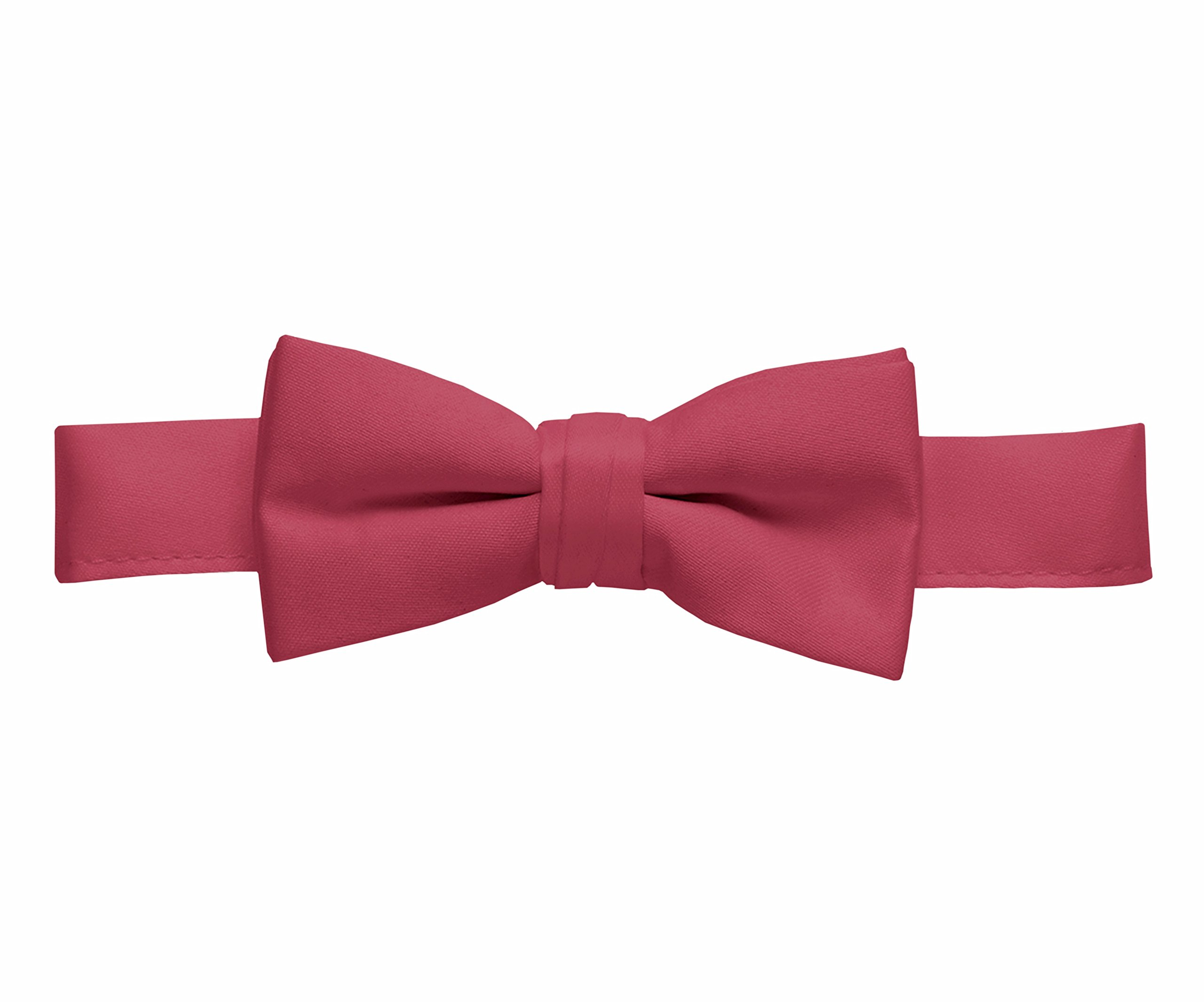 Hold'Em Bow Tie For Mens Boys and Baby Satin look Solid Color Adjustable Pre-tied Made in USA - Kids Burgundy