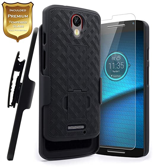 Droid Turbo 2 Case with [Tempered Glass Screen Protector], NageBee [Belt Clip