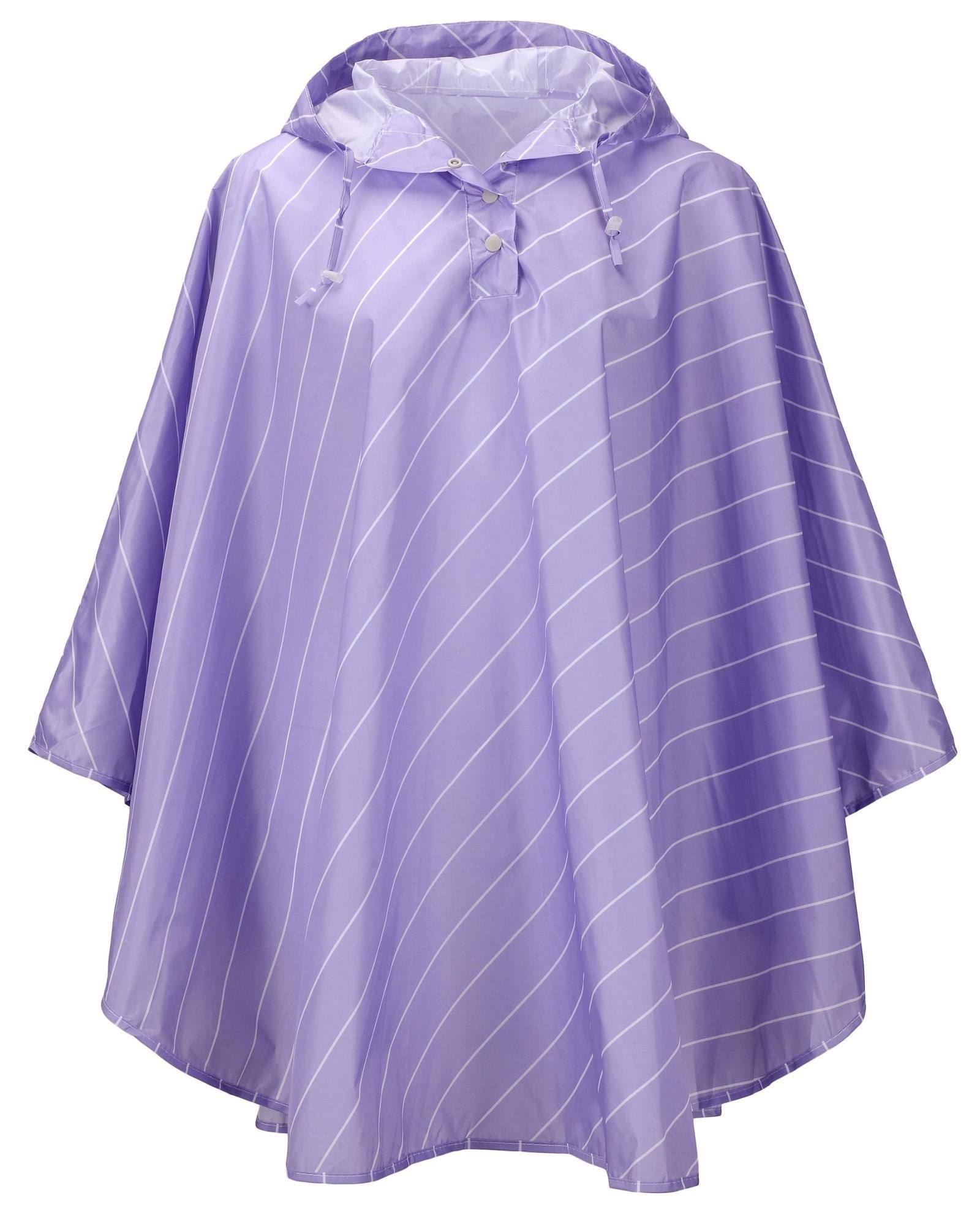 QZUnique Women's Lightweight Outdoor Ripstop Waterproof Packable Rain Jacket Stripes Poncho Raincoat with Hood Purple