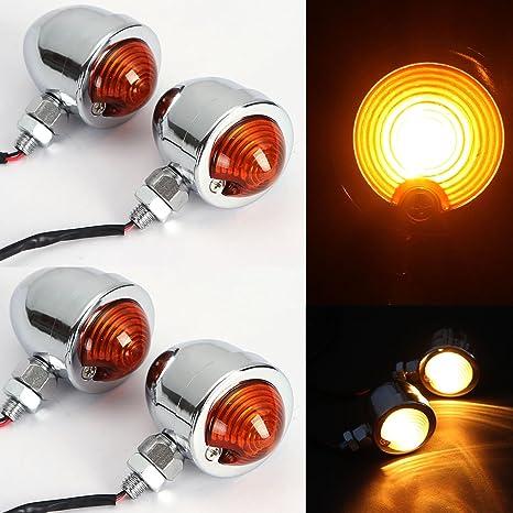 DLLL Universal DC 12V 2pcs Chrome Heavy Duty Motorcycle Turn Signals Bulb Indicators Blinkers Lights