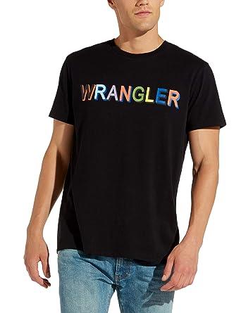 60e9bc6cbc6a Wrangler Men s Multi Clr Logo Regular Fit Ανδρικο Μαυρο T-Shirt Black in  Size Medium