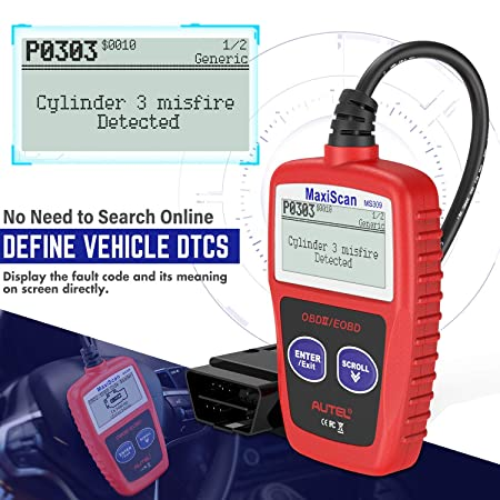 Autel MS309 Universal OBD2 Scanner Engine Fault Reader, Read Clear Codes,  View Freeze Frame Data, I/M Readiness Smog Check CAN Diagnostic Scan Tool