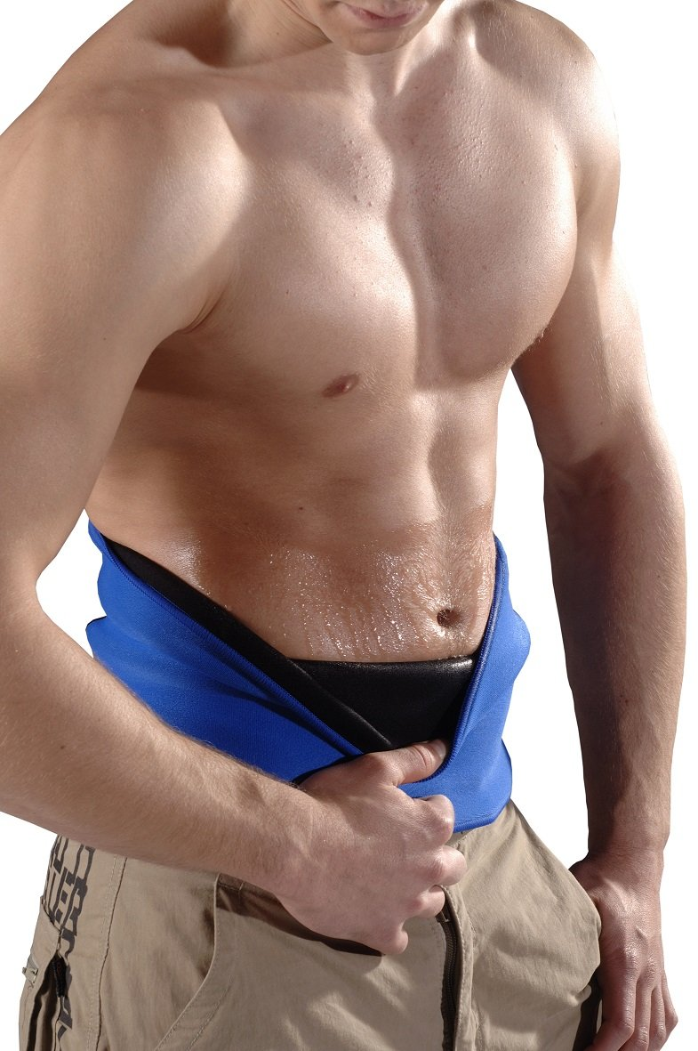 blue belt Bauchweg Gürtel Original Unisex für Frauen und Männer, fördert das Abnehmen am Bauch ohne Diät, Strafft die Haut - Schwitzgürtel, Thermogürtel Fitnessgürtel für Damen und Herren Größe M