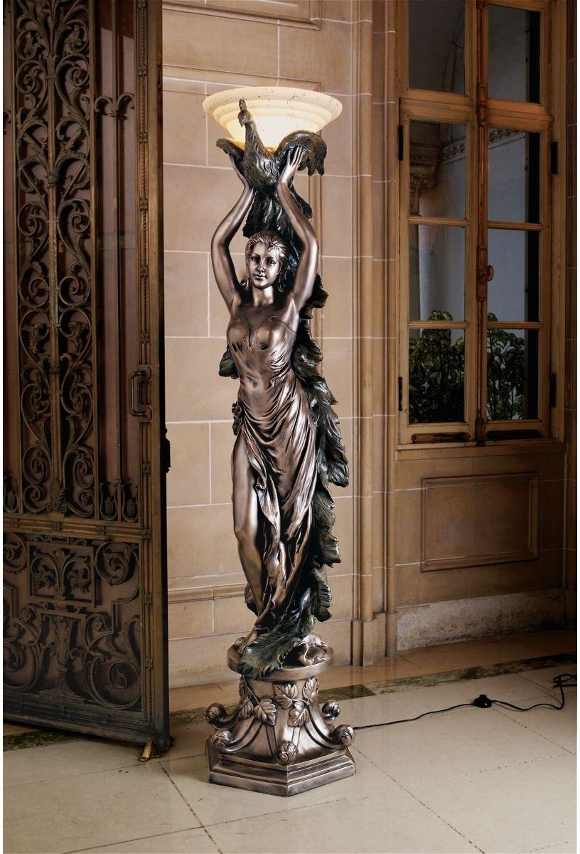 amazoncom 6ft classic french art deco decorative peacock lady statue art nouveau floor lamp home kitchen - Decorative Floor Lamps