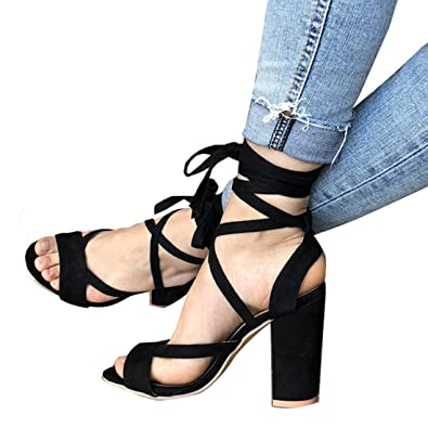 ab64c66fb36d66 Women s Sexy Platform Lace-up Ankle Strap High Heel Peep Toe Sandal Pump  Stiletto Chunky