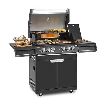 Klarstein Highgrade 4 IB Barbacoa de Gas • 6 fogones • BBQ-Grill • Fogones de 19,8 kW • Parrilla de 71 x 46 cm • Mesa Lateral • Ignición ...