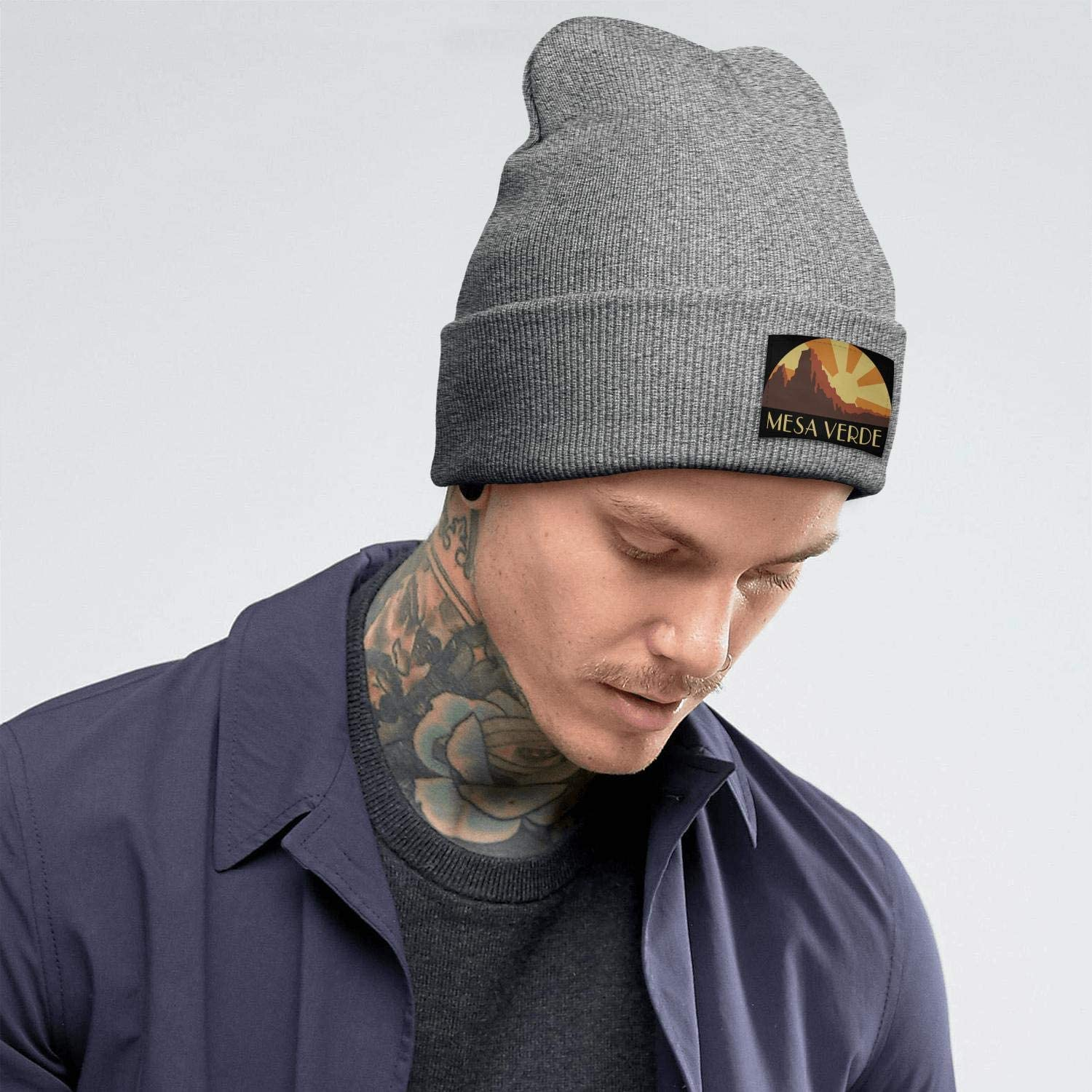 Mens Knitting Beanie Mesa-Verde-National-Park Caps Perfect for Hiking and Many More Outdoor Activities