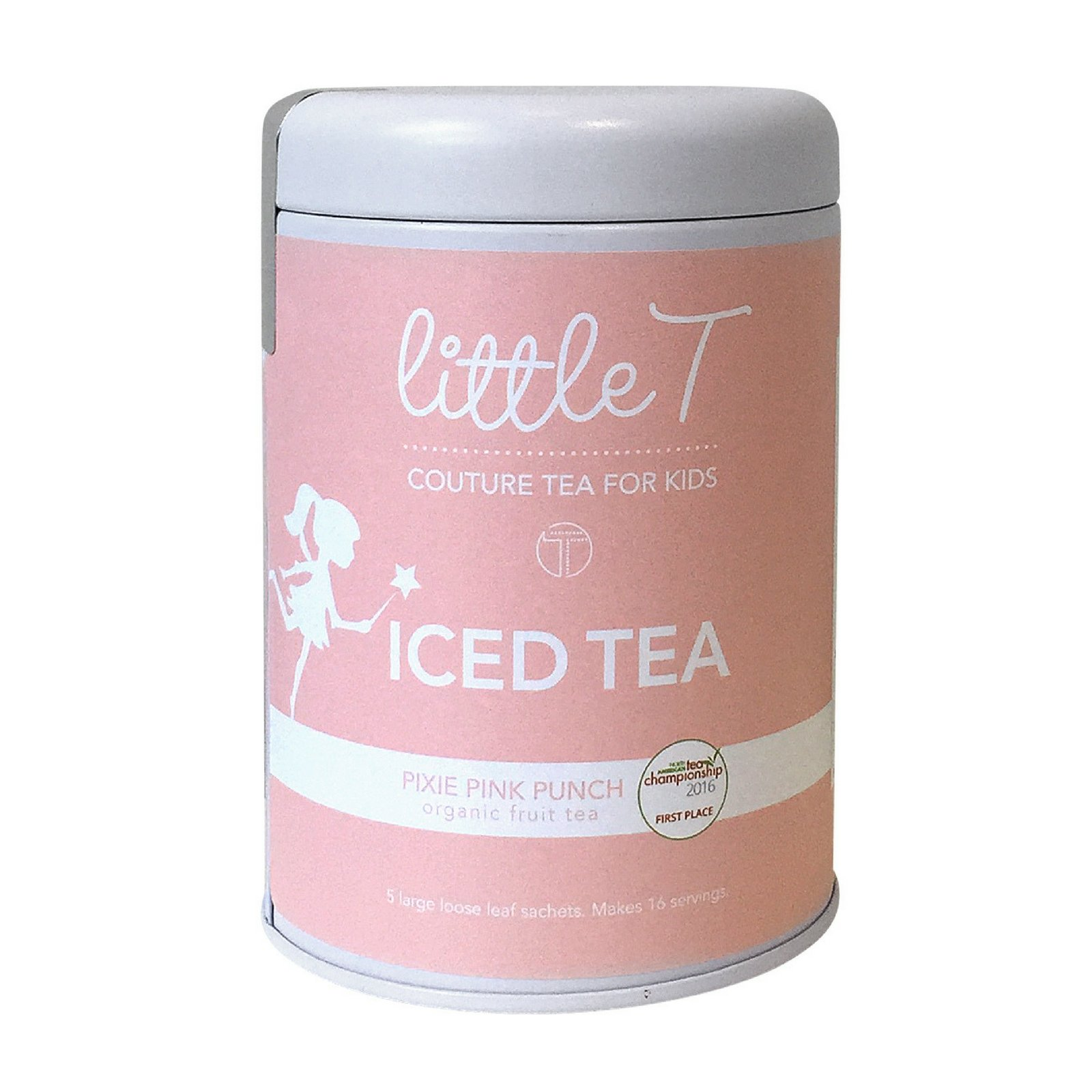 LITTLE T Pixie Pink Punch Organic Fruit Iced Tea for Kids. Sugar-free, Caffeine-free, Antioxidant-rich, Immune-Boosting Herbal Iced Tea Sachets (Iced Tea Tin - 90g)