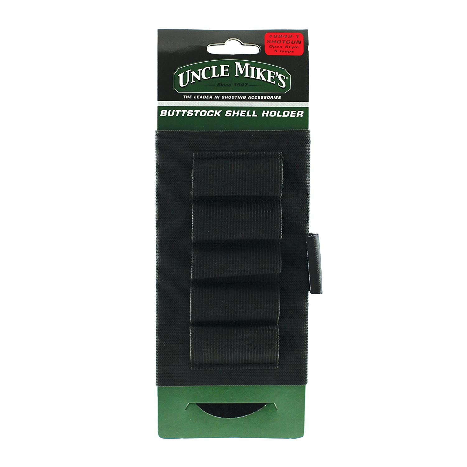 Uncle Mike's Kodra Buttstock Open Style Shotgun Shell Holder, Black