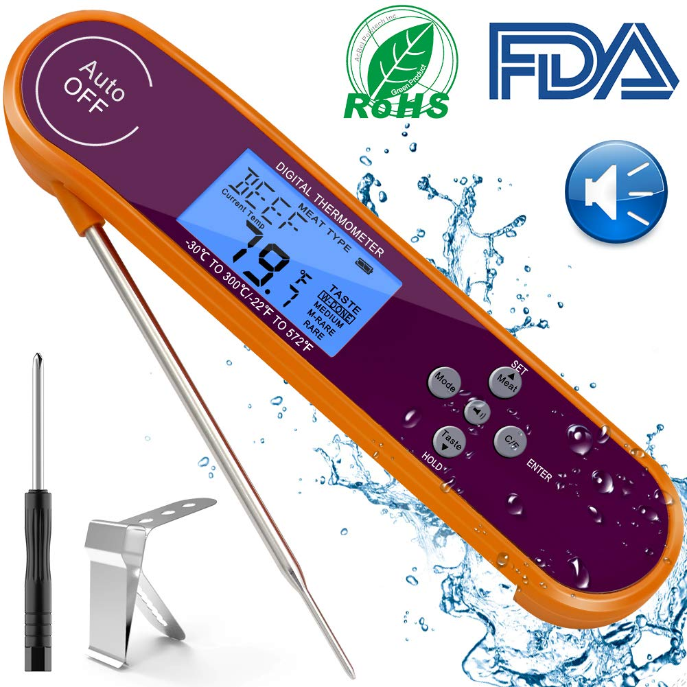 Instant Read Thermometer with Pre-set 8 Types Food, Temperature Alarm, RGB Backlight, Voice Broadcast, Digital Meat Thermometer for Grilling, Cooking, BBQ, Candy, Milk