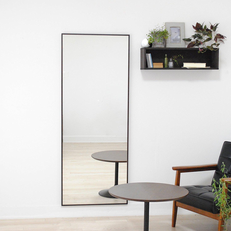 SENNOKI 細枠 全身 鏡 姿見 壁掛け ウォールミラー ダークブラウン 日本製 60cm×153cm B072J2SXTD ダークブラウン ダークブラウン