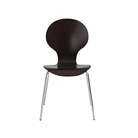 Eur Style Bunny Wood Stackable Side Dining Chair with Chromed Steel Base, Set of 4, Wenge Finish