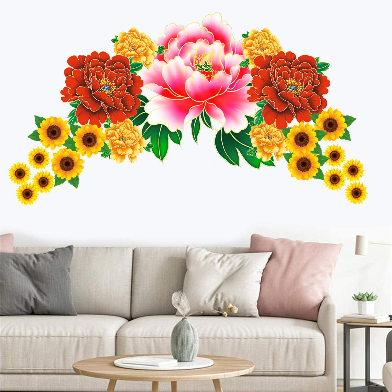 3d butterfly wall stckers wall decors wall art wall.htm amazon com 21pcs diy peony flower   sunflower wall sticker peel  peony flower   sunflower wall sticker