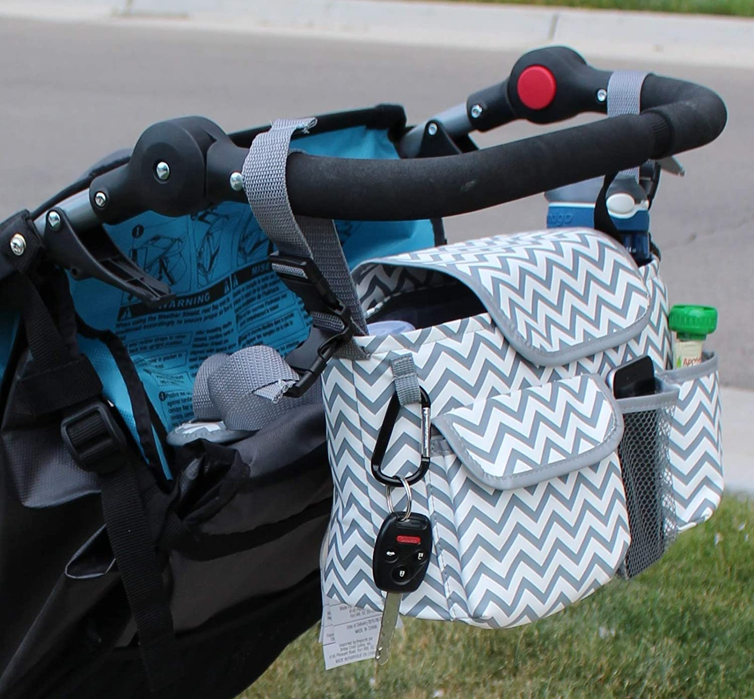 Universal Stroller Organizer with Cup Holders | Mini Diaper Bag | Easily Store Wallets, Keys, Bottles, Diapers, Wipes & Toys. | Premium Chevron Stroller Caddy by Travel in Sanity TIS#531