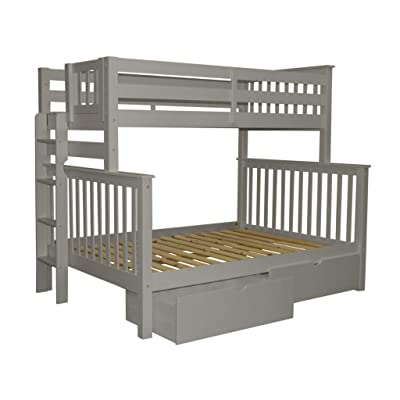 Buy Bedz King Bunk Beds Twin Over Full Mission Style With End Ladder And 2 Under Bed Drawers Gray Online In Kenya B07s12t8sm