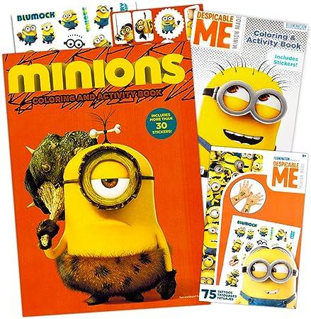 Libro de Actividades y Colorear de Minions de Mi Villano Favorito con Pegatinas, Tatuajes, pósteres y más (2 Libros para Colorear y Divertido): Amazon.es: Juguetes y juegos