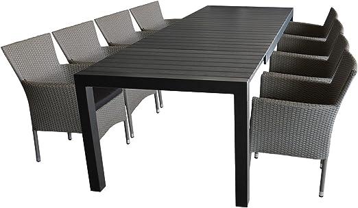 9 piezas. Juego de muebles de jardín para terraza, mesa extensible, tablero de polywood, 205 x 275 x 100 cm, color negro + 8 sillones de jardín de polirratán, gris jaspeado, incluye cojines: Amazon.es: Jardín