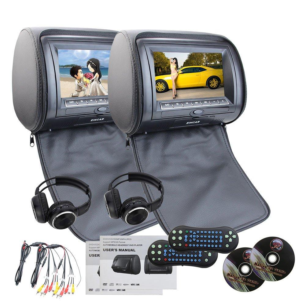 EinCar Black 2 PCS Car Headrest Dual DVD Player 7'' HD display Screen with Built in IR FM Transmitter 32 Bit Games USB SD MP3 for Entertainment IR Free Headphones x 2