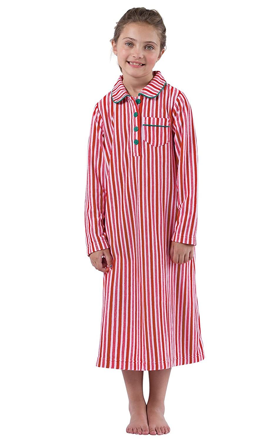 PajamaGram Candy Cane Fleece Nightgown in Holiday Red/White, Big Girls' Big Girls' GKPJ05916