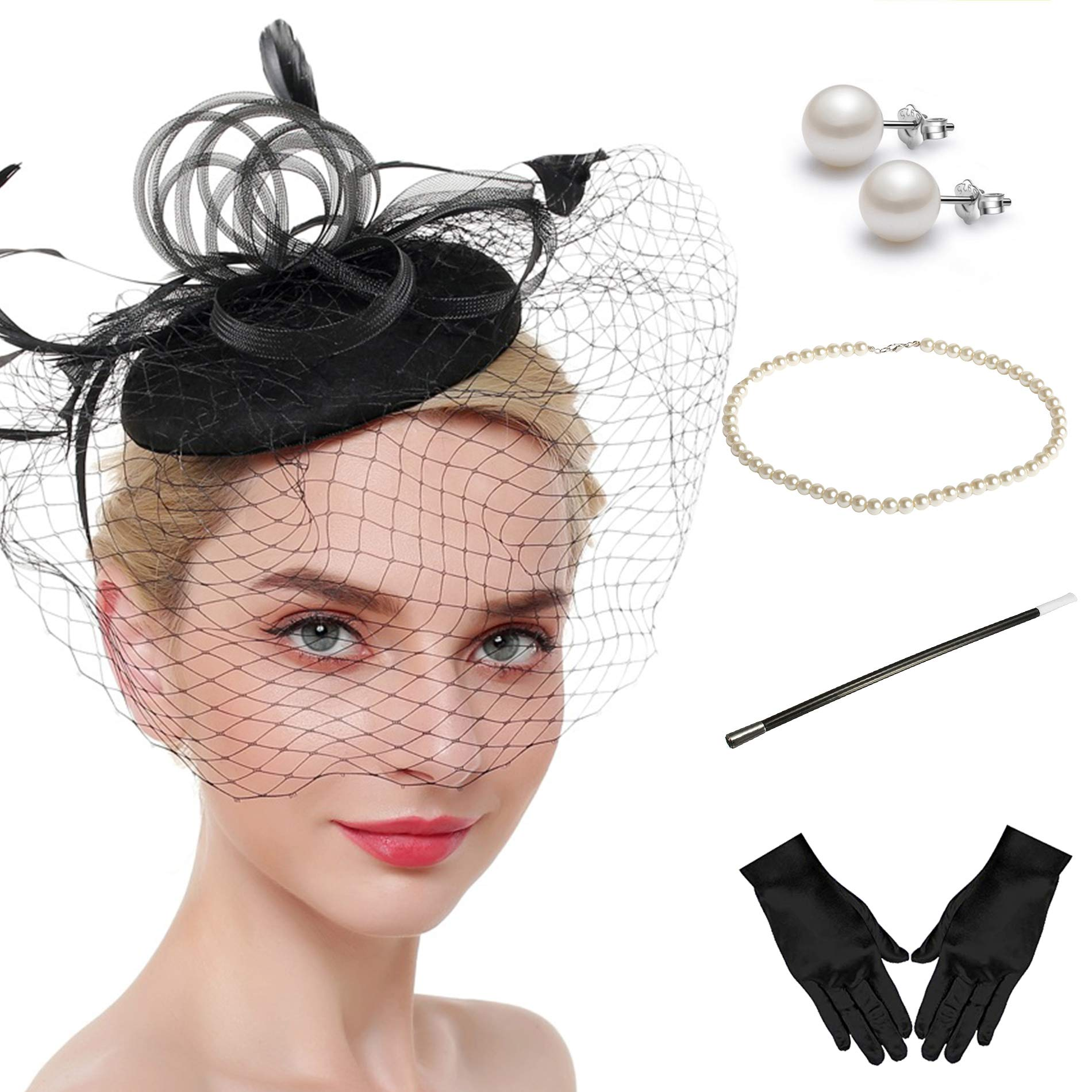 Fascinator Hats for Women Pillbox Hat with Veil Headband and a Forked Clip Tea Party Headwear (Z-Set C)