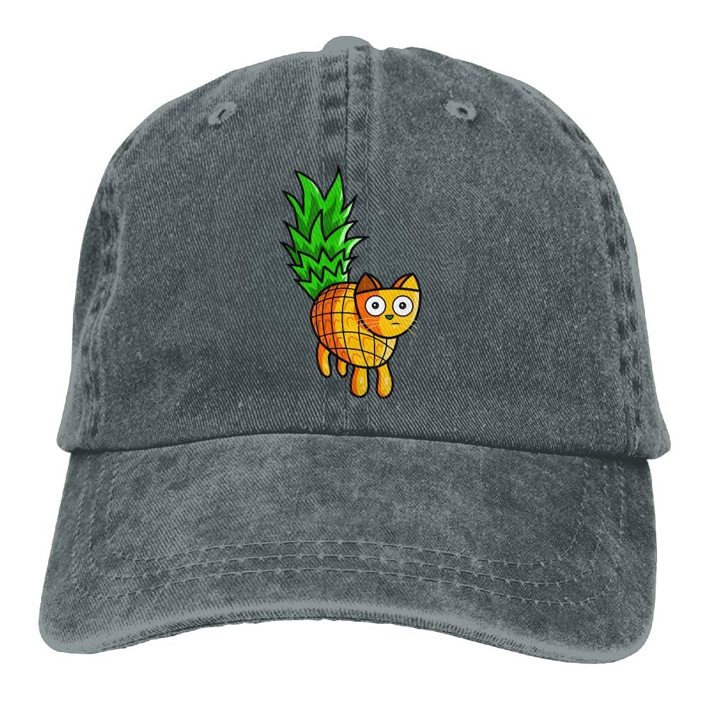 Pineapple Cat Plain Adjustable Cowboy Cap Denim Hat for Women and Men