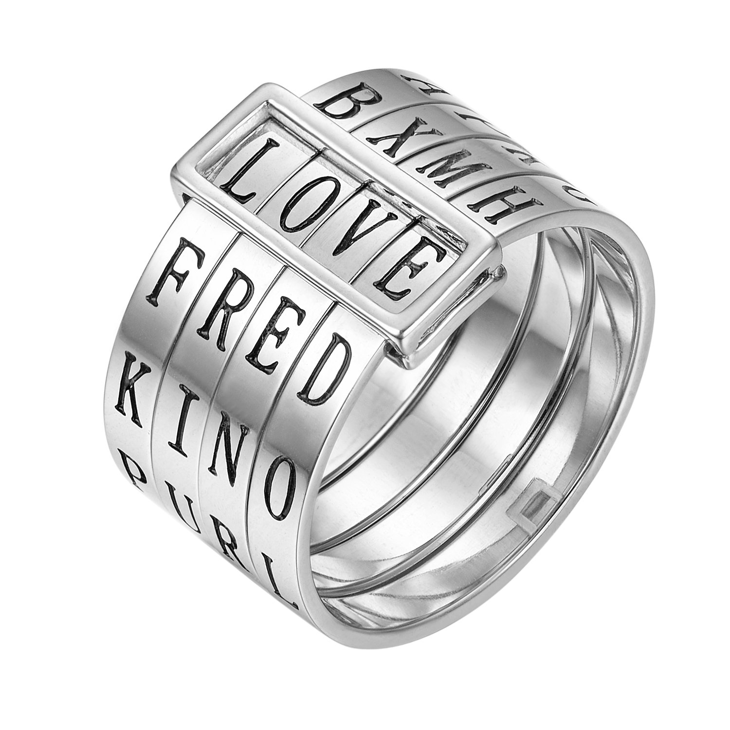 Shally Unisex Real Silver Natural Handmade Fashion Jewelry Rotatable Ring Can Make Different Words Rings for Women Bijoux US6