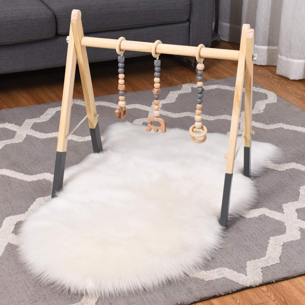 Mobile Baby Exercise Activity Set for Newborn 3 Teething Toys Foldable Infants Gym Frame with Hanging Bar COSTWAY Baby Wooden Play Gym Grey