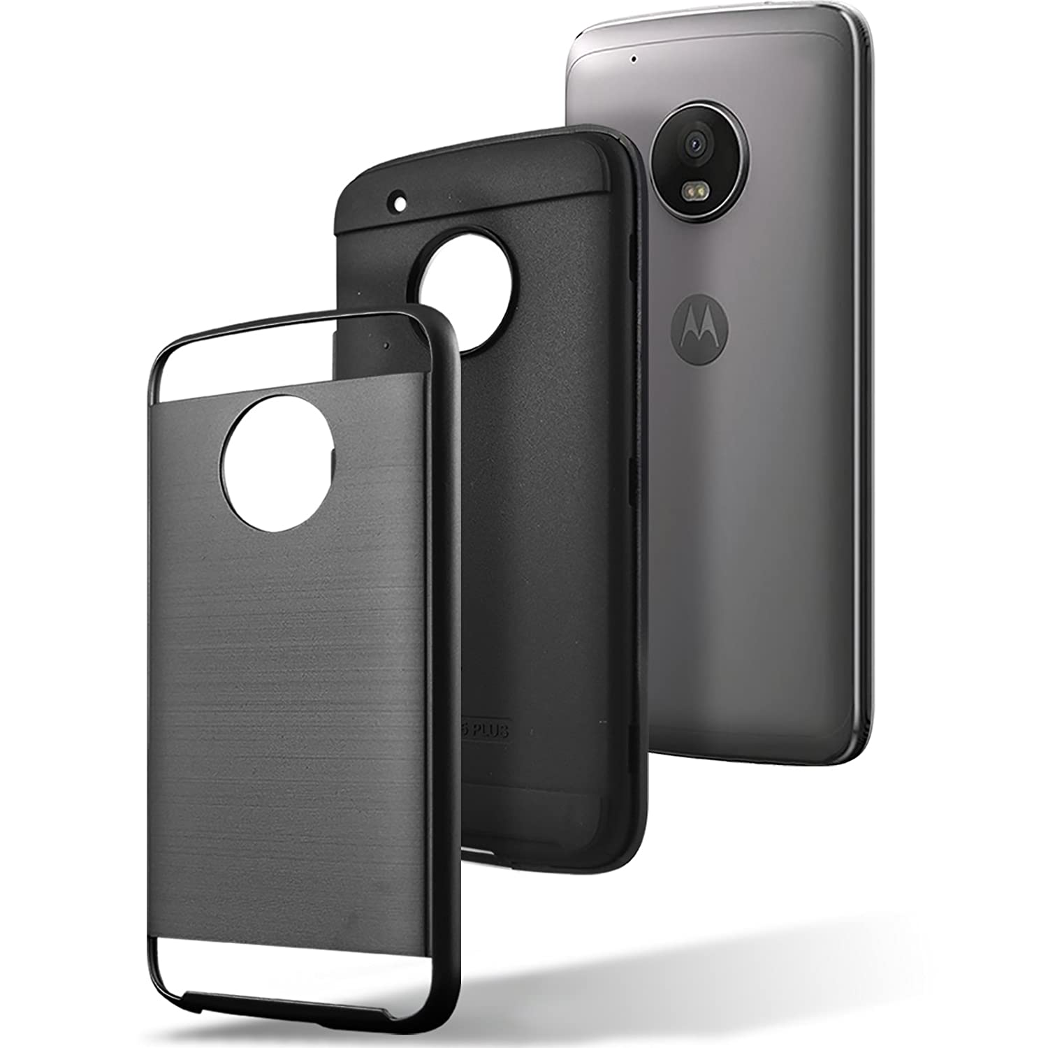 Circlemalls Moto E4 Plus Case 2 Piece Style Hybrid Hardcase Anti Shock Caseology Vanvo Iphone 6 Black Shockproof With Hd Screen Protector And Touch Pen Electronics